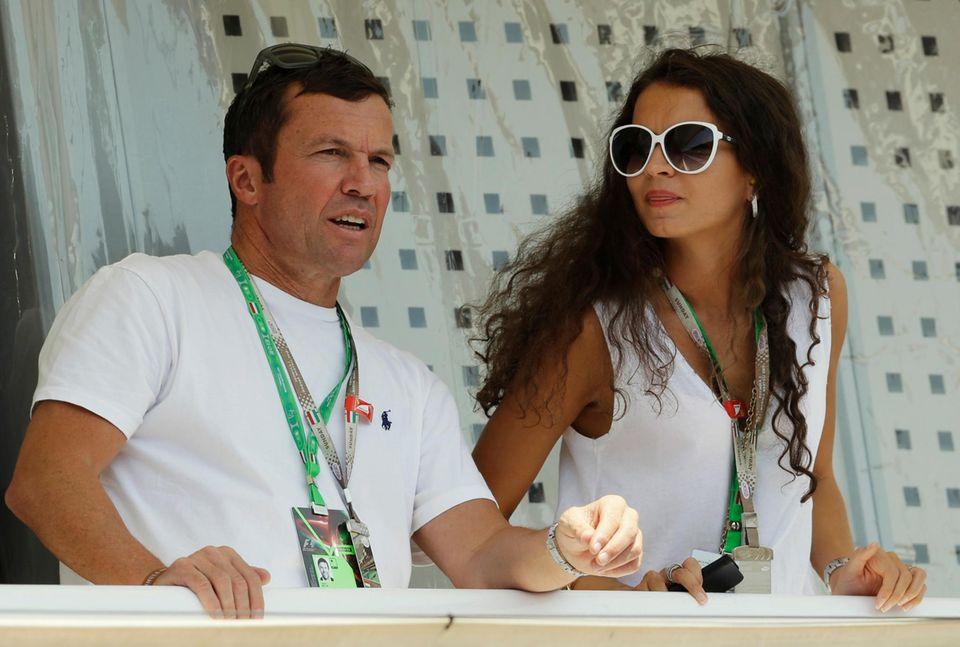 """28. Juli 2013: Lothar Matthäus verfolgt mit seiner Freundin Anastasia Klimko das Formel-1-Rennen beim """"Großen Preis von Ungarn"""" in Budapest."""