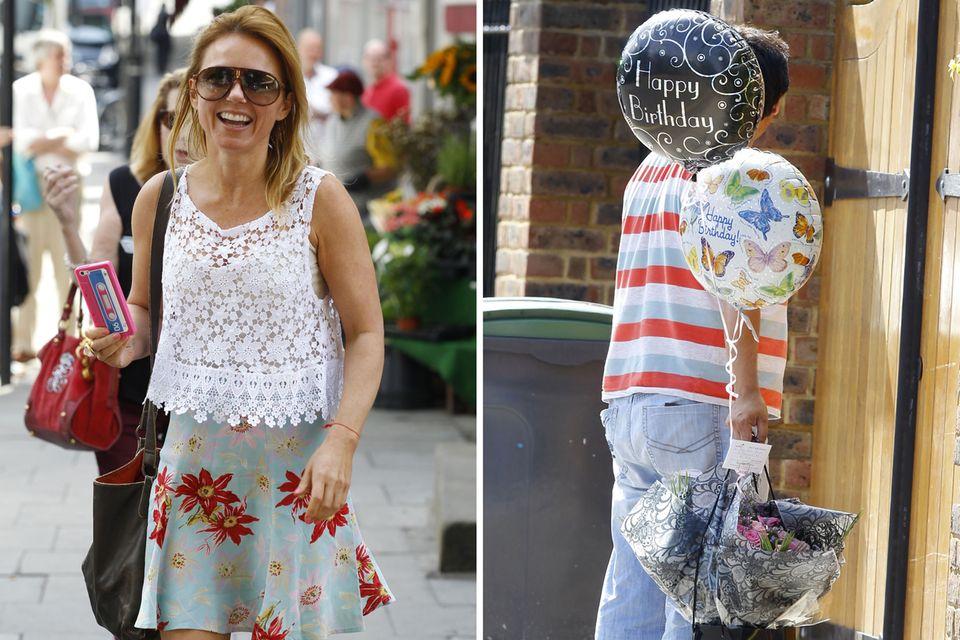6. August 2013: Geri Halliwell strahlt an ihrem 41. Geburtstag über beide Ohren - schließlich bekommt sie Geschenke ins Haus geliefert.