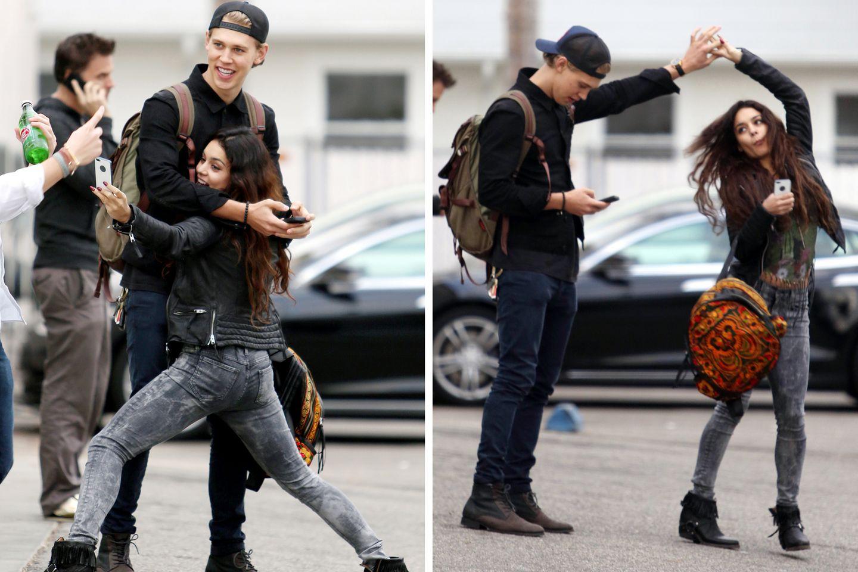 18. Dezember 2013: Vanessa Hudgens und Austin Butler vergnügen sich in Venice. Dabei steht das Handy immer im Mittelpunkt.
