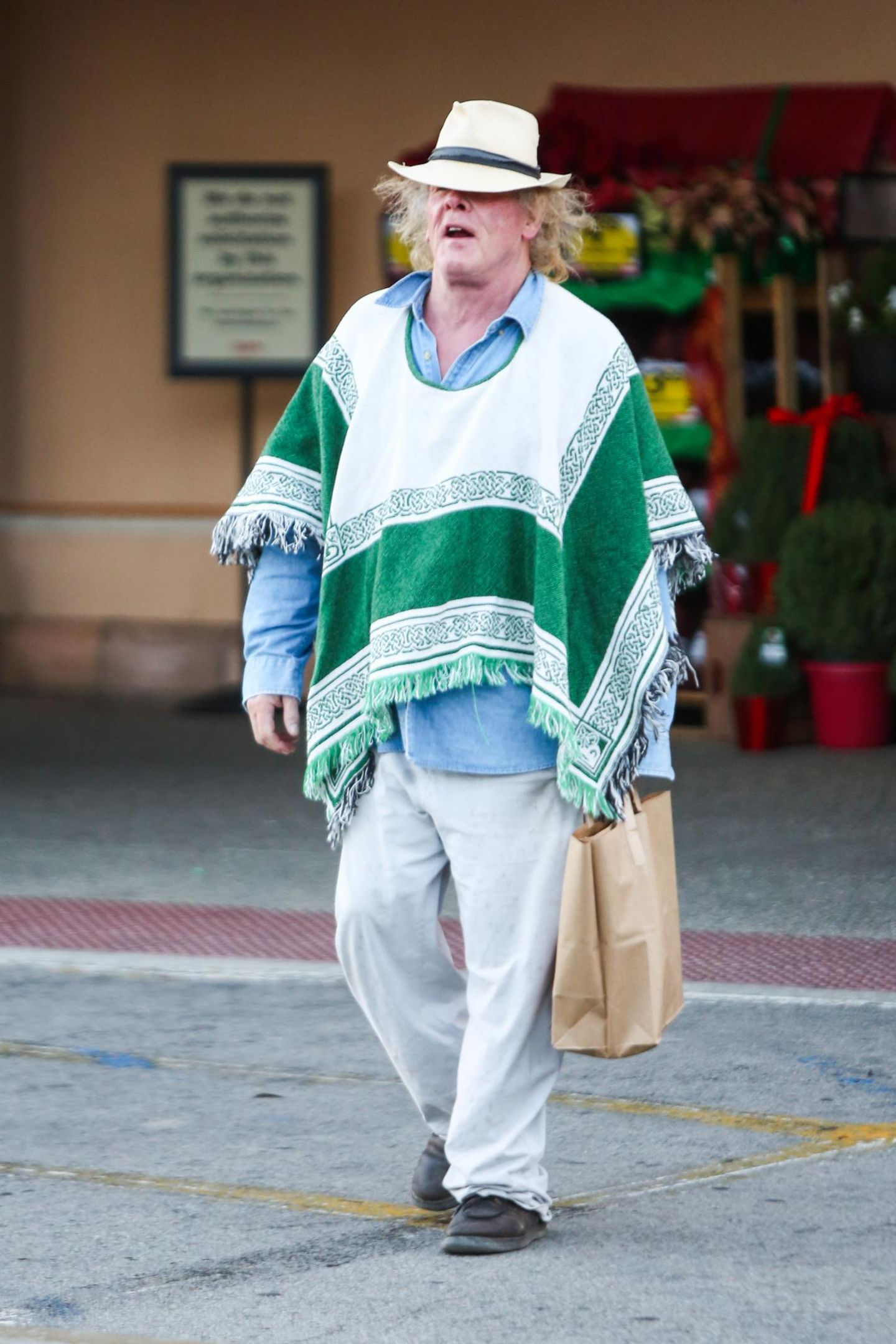 23. November 2013: Mit seinem Poncho und dem Hut fällt Nick Nolte beim Einkaufen in Malibu auf.