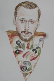 Ryan Gosling als Pizza  Oft sitzt Jessie Bowie in ihrer Küche und stellt sich vor, in was sich ihre Lieblingsstars verwandeln könnten. Die Aquarelle verkauft sie im Internet für ca. 30-60 Euro.