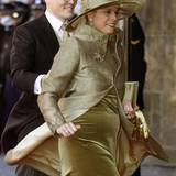 Schwangere Royals: Auf der Hochzeit von Prinz Willem-Alexander im Februar 2002 ist es schon nicht mehr zu übersehen: Prinz Constantijn und seine Frau Laurentien erwarten ihr erstes Kind. Eloise kam am 8. Juni auf die Welt. Die kleine Prinzessin ist das erste Enkelkind von Königin Beatrix und Prinz Claus.