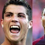 Als Cristiano Ronaldo 2004 noch bei Manchester United spielte, konnte man beim Torjubel noch auf eine große, seitliche Zahnlücke und etwas schiefe Vorderzähne blicken. Die gibt es zehn Jahre später nicht mehr, stattdessen eine gerade Zahnaufstellung.