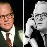 """Täuschend ähnlich sieht Philip Seymour Hoffman dem amerikanischen Schriftsteller Truman Capote in dem Film """"Capote"""". Diese überzeugende Darstellung wird 2006 mit einem Oscar belohnt."""