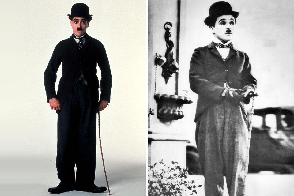 """In """"Chaplin"""", einem biografischer Film über das Leben von Charles Spencer Chaplin (bekannt als Charlie Chaplin), spielt Robert Downey Jr. die 1992 Hauptrolle."""
