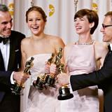 Die glücklichen Gewinner des Abends: Daniel Day-Lewis, Jennifer Lawrence, Anne Hathaway und Christoph Waltz