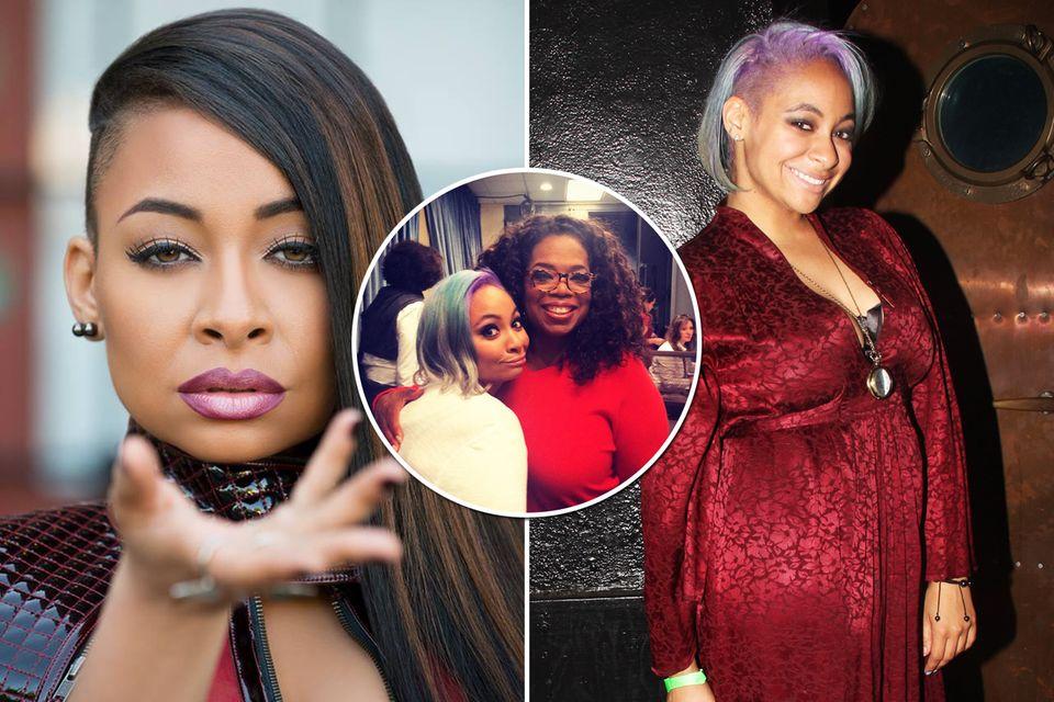 """Nicht wiederzuerkennen: Erwachsen und mit bunten Haaren besucht Raven-Symoné Oprah Winfrey in ihrer Show. Als Teenager bekam Raven-Symoné von Disney die Serie """"Raven blickt durch"""" auf den Leib geschneidert. Nebenbei betätigte sie sich auch als Sängerin und veröffentlichte insgesamt vier Alben."""