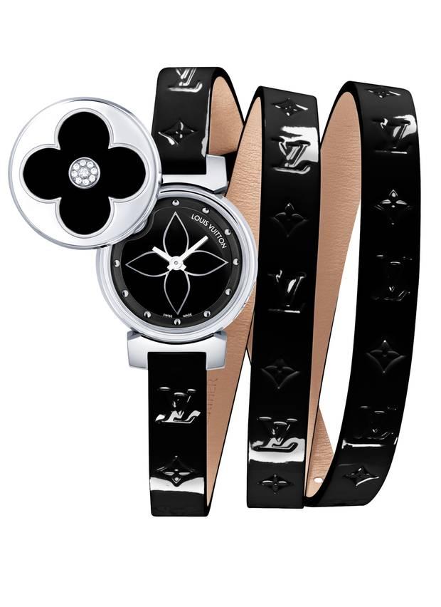 Lasst Blumen sprechen - unter dem Deckel versteckt sich die kleine Uhr im Stahlgehäuse. Von Louis Vuitton