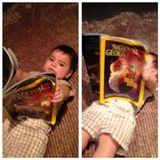 """30. Juli 2013  """"Während Mama Aufnahmen macht, mag ich eine leichte Lektüre"""", schreibt Shakira zu diesem Foto ihres Söhnchens Milan."""