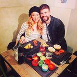 13. Februar 2015  Shakira und Gerard genießen ihren Abend zu zweit in einem Burgerladen in Barcelona.