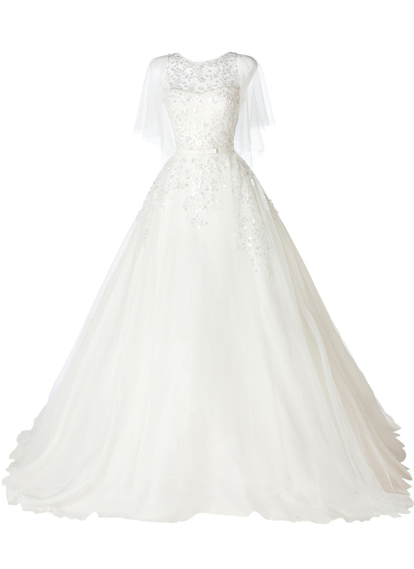 Wie im Märchen: opulentes, von Hand besticktes Tüllkleid von Pronovias, über hochzeit.de, ca. 2.900 Euro