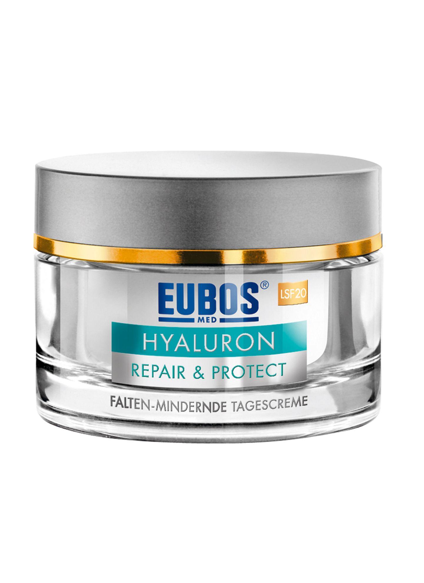 """Die """"Hyaluron Repair & Protect""""-Tagescreme mit LSF 20 schirmt UV-Strahlen ab. Von Eubos, 50 ml, ca. 25 Euro, in Apotheken"""