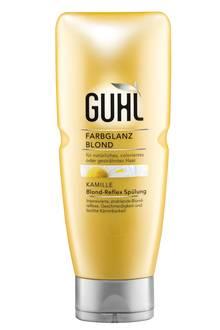 """Intensiviert und erhält die Farbe: """"Blond-Reflex Spülung"""" mit Kamille. Von Guhl, 200 ml, ca. 5 Euro"""