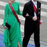 Erbprinzessin Sophie und Erbprinz Alois von Liechtenstein auf dem Weg in die Kirche.