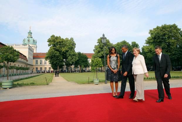 Die letzte Amtshandlung des Präsidenten in Deutschland: am Abend findet auf Schloss Charlottenburg ein Staatsbankett statt.