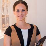 """Prinzessin Sofia trägt bei der Eröffnung der Ausstellung """"Porfyr - der königliche Stein""""in Sven-Harrys Kunstmuseum in Stockholm ein raffiniert gemustertes Kleid von Zara. Ein echtes Schnäppchen, dem man seinen Preis allerdings nicht ansieht."""