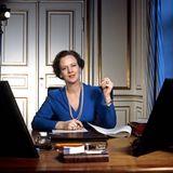 Tintenfässchen, Kalender, Schreibunterlage - Königin Margrethe von Dänemark hatte 1976 nur das Nötigste auf ihrem Schreibtisch. Vier Jahre bevor dieses Bild entstand wurde sie zur Königin gekrönt.