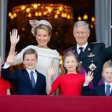 Königin Mathilde und König Philippe mit ihren Kindern Prinzessin Eléonore, Prinz Gabriel, Kronprinzessin Elisabeth und Prinz Emmanuel