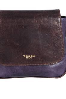 Zweifarbige Umhängetasche aus glänzendem Kalbsleder. Von Tosca Blu, ca. 130 Euro