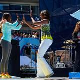 """US-First Lady Michelle Obama erntet beim """"Arthur Ashe Kids' Day"""" viel Applaus."""