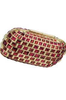 Schmuckstück: Clutch mit roten Kristallen, eingelassen in vergoldetes Metall. Von Jimmy Choo, ca. 5000 Euro
