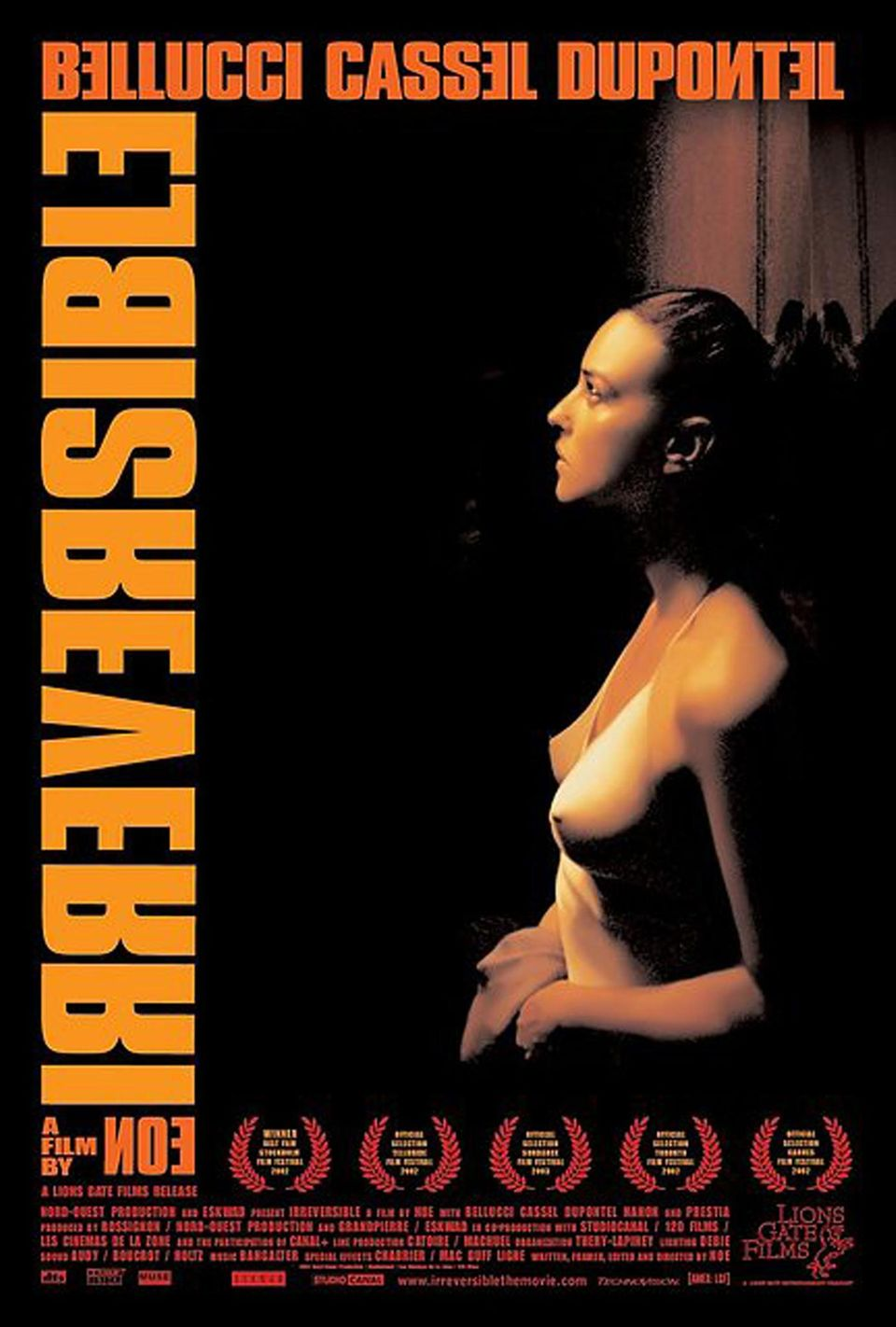 """Für den verstörenden Film """"Irreversibel"""" mit Monica Bellucci, in dem eine Vergewaltigung sehr explizit gezeigt wird, wirbt der Verleih mit diesem fast sinnlichen Plakat."""