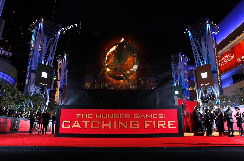 """In Los Angeles ist alles für die große """"Catching Fire""""-Premiere bereit."""