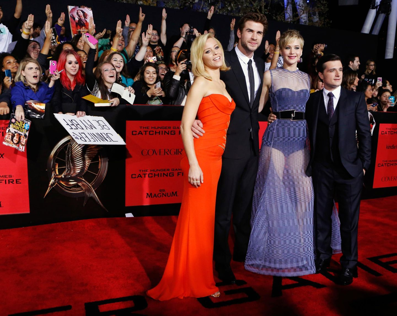 Elizabeth Banks, Liam Hemsworth, Jennifer Lawrence und Josh Hutcherson