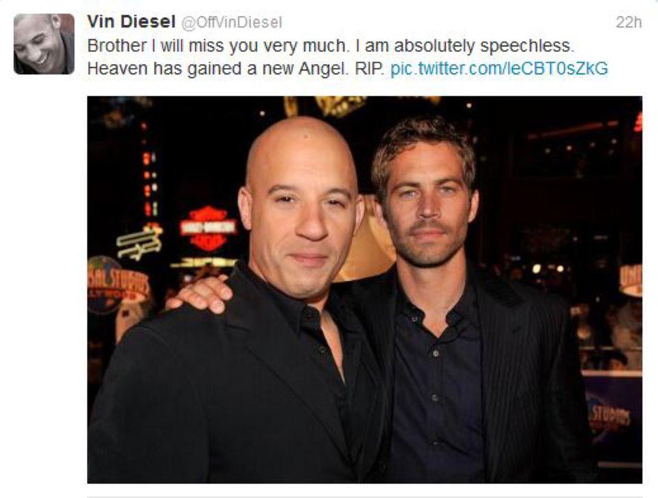"""Vin Diesel  """"Fast & Furious""""-Kollege Vin Diesel schreibt: """"Bruder ich werde dich sehr vermissen. Ich bin absolut sprachlos. Der Himmel hat jetzt einen neuen Engel. Ruhe in Frieden."""""""