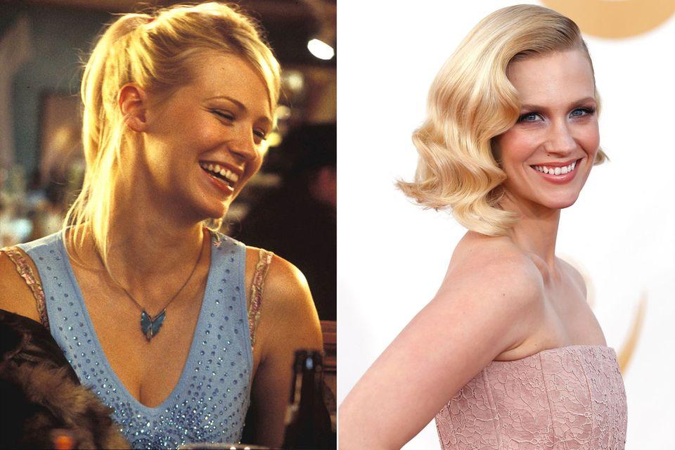 """In """"Tatsächlich Liebe"""" hat January Jones nur eine kleine Nebenrolle als Amerikanerin, die auf Engländer steht. Die Rolle ihres Lebens spielt sie in der vielfach ausgezeichneten Fernsehserie """"Mad Men"""". Seit 2007 hat sie dort die Rolle der """"Betty Draper"""" und ist 2008 für den Golden Globe nominiert worden. Die schöne Blondine hat auch im Kino-Hit """"X-Men: Erste Entscheidung"""" mitgespielt."""