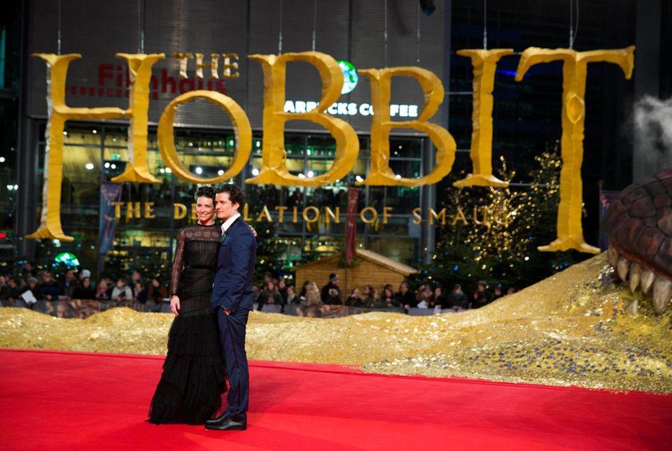 """Evangeline Lilly und Orlando Bloom sind nach Berlin gekommen, um """"Der Hobbit - Smaugs Einöde"""" vorzustellen."""