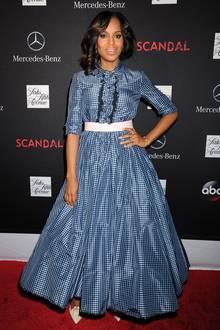 """Kerry Washingtons Look bei einer Staffelpremiere von """"Scandal"""" bescherte ihr in der Presse teilweise negative Kritiken. Viele fanden ihr Prada-Kleid zu altmodisch."""