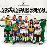 Fußball WM in Brasilien  Nationaltrainer Jogi Löw reist mit seinem Team im Juni 2014 zur Fußball-Weltmeisterschaft nach Brasilien. Die südmarikanischen Zeitungen unterstützen im Vorfeld die deutsch-brasilianische Fanfreundschaft und druckt dieses Bild. Toi, toi toi - wir drücken die Daumen.