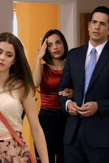 """In der ersten Staffel kehrt """"Violetta"""" mit ihrem Vater """"Germán"""" (Diego Ramos, rechts) in ihre Heimatstadt Buenos Aires zurück."""