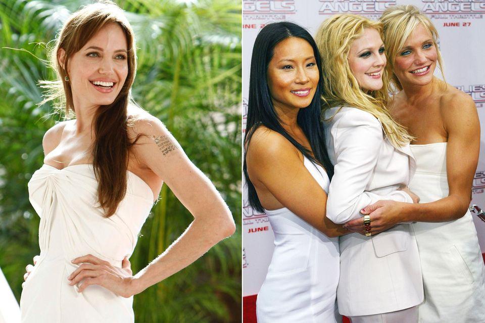 """Optisch passen würde es auf jeden Fall: Angelina Jolie war die erste Wahl für die Rolle der Alex in """"Charlie's Angels"""", lehnte das Filmrollenangebot jedoch ab, angeblich, weil ihr die alte Serie nicht besonders gut gefallen habe. Nachdem auch Jada Pinkett Smith absagte, bekam Lucy Liu die Möglichkeit, in der Actionkomödie mitzuwirken."""