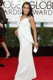 """Kerry Washington und ihr Ehemann, der Football-Profi Nnamdi Asomugha, erwarten ihr erstes Kind. Entsprechend stolz präsentiert die """"Scandal""""-Schauspielerin ihren Bauch dann auch auf dem roten Teppich vor der Verleihung der Golden Globes."""