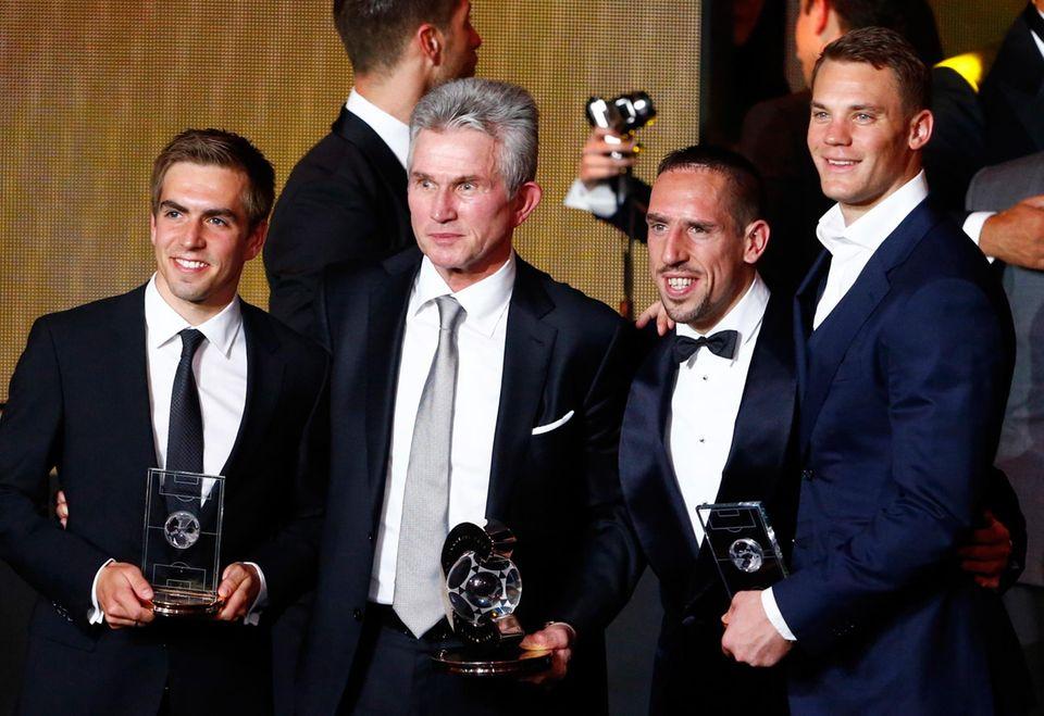 Philipp Lahm, Jupp Heynckes, Franck Ribery und Manuel Neuer