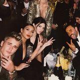 Oktober 2014   Auf der Givenchy Fashionparty feiern Kim Kardashian und Justin Bieber gemeinsam mit dem Chefdesigner Riccardo Tisci die gelunge Show.