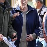 """23. Oktober 2014: Dame Maggie Smith steht für den Film """"The Lady in the Van"""" in London vor der Kamera."""
