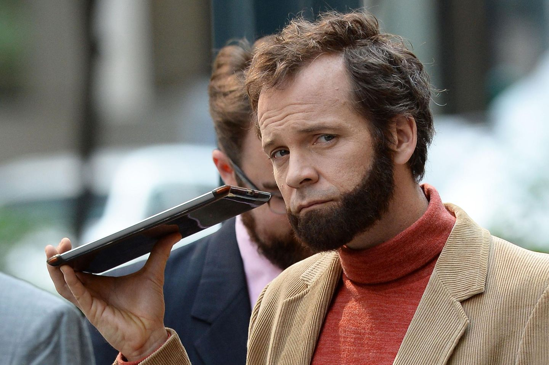 "22. Juni 2014: Peter Sarsgaard dreht mit Bart den Film ""Experimenter"" in Manhattan."
