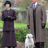 """24. April 2014: Die Dreharbeiten für die fünfte Staffel von """"Downton Abbey"""" sind in vollem Gang. Michelle Dockery spielt """"Lady Mary"""" und Hugh Bonneville """"Lord Grantham""""."""