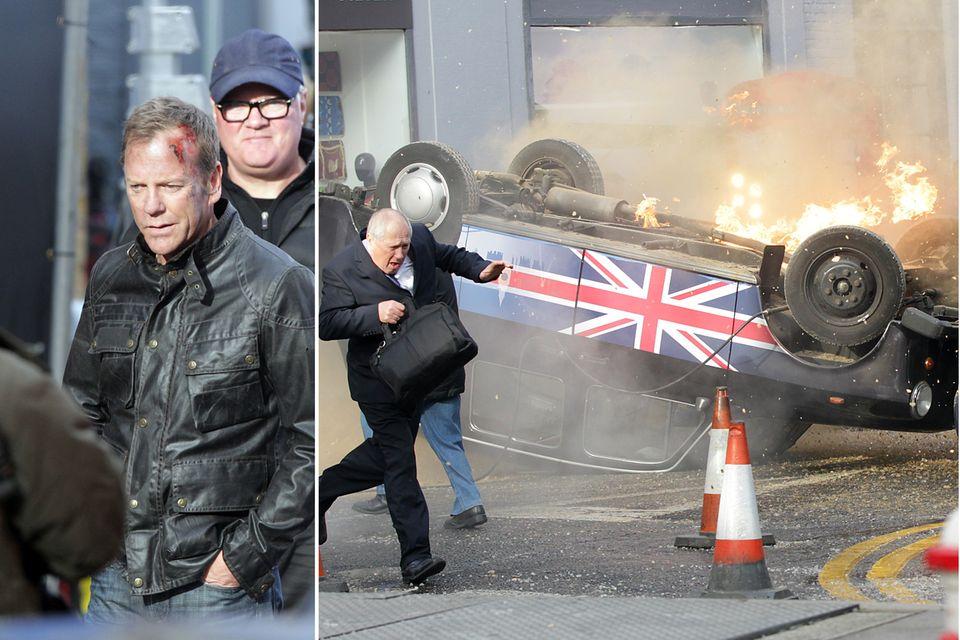 """22. Januar 2014: """"Jack Bauer"""" ist zurück: Kiefer Sutherland dreht in London für die Fortsetzung der Serie """"24"""". Dabei wird nicht nur der Serienheld ziemlich lädiert, sondern auch umstehende Fahrzeuge."""