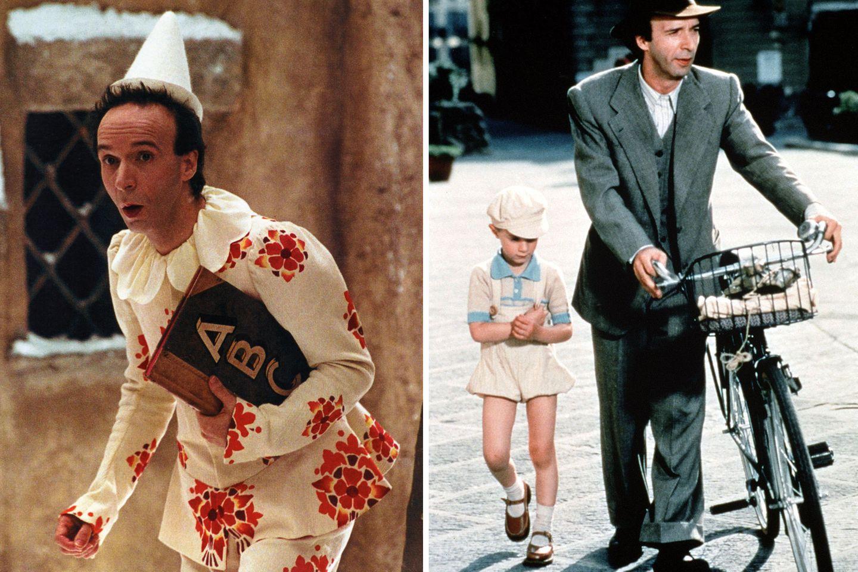 """Roberto Benigni  Bei der Oscar-Verleihung 1999 kann sich Roberto Benigni über eine Trophäe für """"Das Leben ist schön"""" freuen. 2003 folgt dann die Schmach in Form einer Goldenene Himbeere. Als """"Pinocchio"""" kann Benigni nicht überzeugen und wird als schlechtester Hauptdarsteller ausgezeichnet."""
