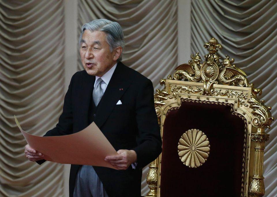 29. September 2014: Kaiser Akihito eröffnet eine außerordentliche Sitzung des Parlaments in Tokyo.