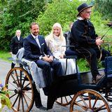 14. August 2014: Kronprinz Haakon und Prinzessin Mette-Marit nehmen an einer Gedenkfeier zum Verfassungsjubiläum im Spydeberg Pfarrhaus teil.