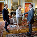 20. Mai 2014: Prinz Daniel und Prinzessin Victoria empfangen Hamburgs Bürgermeister Olaf Scholz im Königspalast in Stockholm.