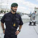 """31. August 2014: Prinz Carl Philip ist an Bord der """"HMS Carlskrona"""" in Turku. Der Sohn von König Carl Gustaf und Königin Silvia von Schweden nimmt an einer Übung der Marine teil."""