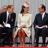4. August 2014: Prinz William, Herzogin Catherine und der französische Staatschef Francois Hollande nehmen an einer Zeremonie in Liège zum Gedenken an den Ausbruch des Ersten Weltkriegs vor 100 Jahren teil.