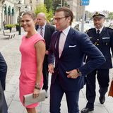 """20. August 2014: Prinzessin Victoria und Prinz Daniel kommen zu den jährlichen schwedischen """"Worldwide Awards"""" in Stockholm."""
