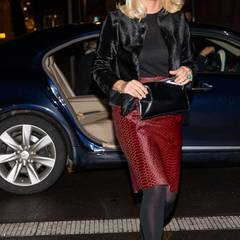 """12. Februar 2014: Prinzessin Mette-Marit ist gut gelaunt auf dem Weg zu dem Designpreis Nåløyet (""""Nadelöhr"""") in Oslo."""